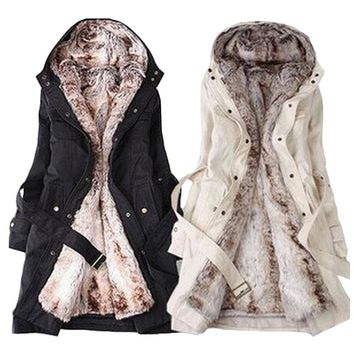 2015 Faux fur lining women's fur Hoodies Ladies coats winter warm long coat jacket cotton clothes thermal parkas female