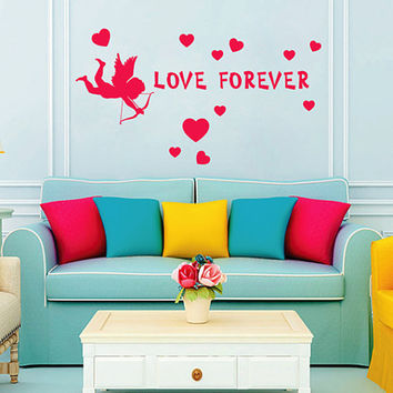 kik2258 Wall Decal Sticker inscription love heart cupid forever living room bedroom