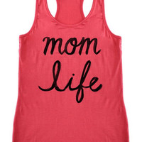 Mom Life Racer back Tank, Coral