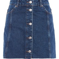 MOTO Button Through Denim Mini Skirt | Topshop