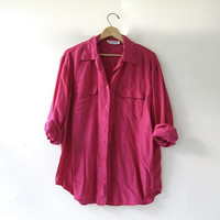 80s silk shirt. pink silk blouse. oversized silk top.