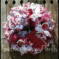 Alabama Deco Mesh Wreath, Alabama Wreath, Deco Mesh Wreath, University of Alabma, University of Alabama Wreath, Houndstooth Wreath, Wreath