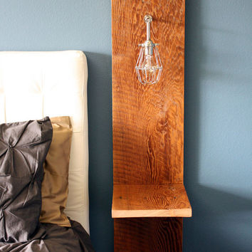 Wall Mounted Nighstand // Reclaimed Wood // Industrial Cage Lamp // Recycled Barn Wood // Rustic End Table // Rustic Side Table