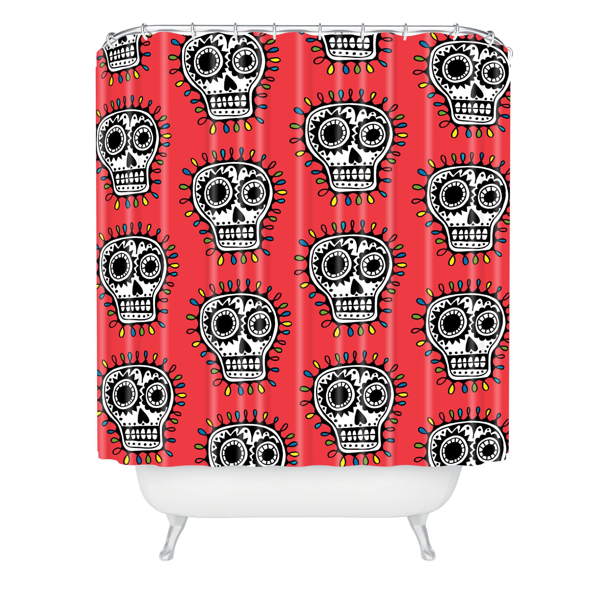 Andi Bird Sugar Skull Fun Red Shower Curtain