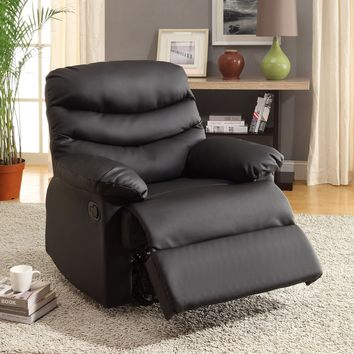 Maura Transitional Bonded Leather Recliner Chair, Black