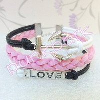 Anchor Bracelet.White and black Wax Cords and Light Pink Braid bracelet.