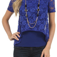 Layered Lace Top - Blue