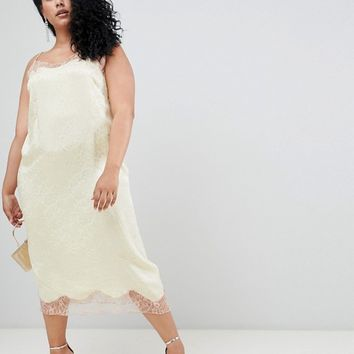 ASOS DESIGN Curve soft jacquard slip dress with delicate lace inserts at asos.com