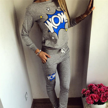 2016 Fashion Womens Pullover Tracksuit Hoodie Sweatshirt + Pants Casual Printed Hip Pop Sportsuit sportwear Suits For Women