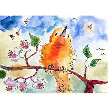 ACEO Painting Yellow Bird and Bees by Ginette Callaway  Watercolor and Ink
