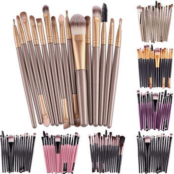 Professional 15Pcs /set Eye Makup Brushes Tool Set Eyeshadow Eye Lipstick Soft Hair Cosmetic Brush Kits Easy to Stick Powder