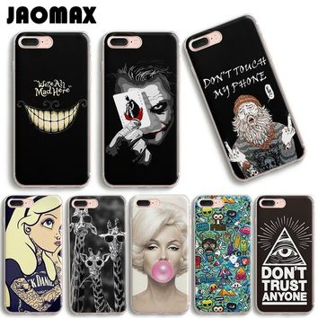 Cartoon Smile Eye Joker Giraffe Comics Phone Case For iPhone 6 6S 6 Plus 5 5S SE 7 7Plus Transparent Silicone Back Cover Capa