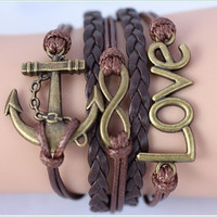 Bracelet---infinity bracelet with anchor and love---brown color--- cute and pretty gift for GF-BFF ---unique gift for Xmas,birthday ,etc