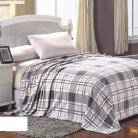 Ultra Plush Grey Square Plaid Design Queen Size Microplush Blanket