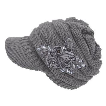 ESBG8W 2017 New Women's Cable Knit Visor Hat With Flower Accent Dropshipping L602