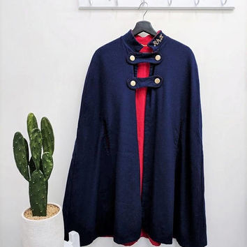 Vintage Navy Blue Wool Cape 1960s Military Reversible Cape Two Sided Capelet Poncho Red Wool Cape Army Long Womens Winter Cloak