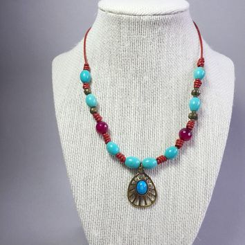 Red boho turquoise necklace