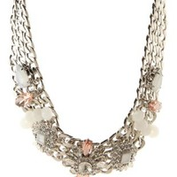 Silver Chain & Crystal Statement Necklace by Charlotte Russe