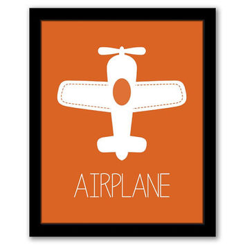 Airplane Wall Art, Transportation, Nursery Wall Art, Orange Art, Aviation Decor, Kids Room, Boys Room, Kids Wall Art INSTANT DOWNLOAD