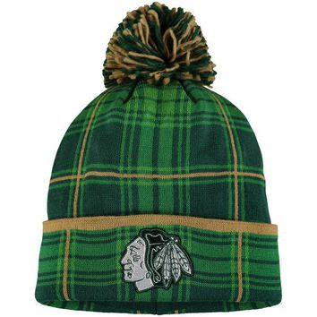 Chicago Blackhawks Reebok St. Patrick's Day Cuffed Knit Hat with Pom