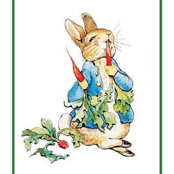 Peter Rabbit Eats Carrots inspired by Beatrix Potter Counted Cross Stitch Pattern