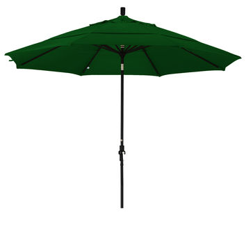 11 Foot Sunbrella 5A Fabric Aluminum Crank Lift Collar Tilt Patio Umbrella with Black Pole