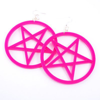 Large Pentagram Earrings. HOT PINK