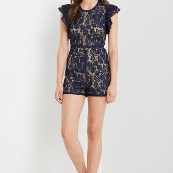 Navy Population Lace Romper