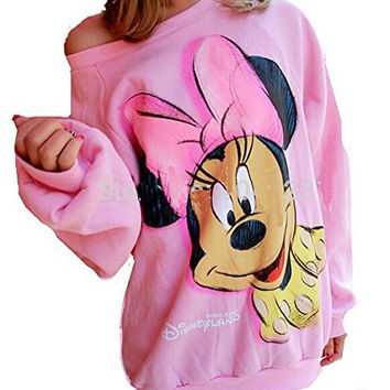 Womens Pink Sweatshirt with Minnie Mouse on Front and Back