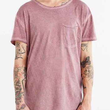 Feathers Oil Wash Scoop Neck Long Tee