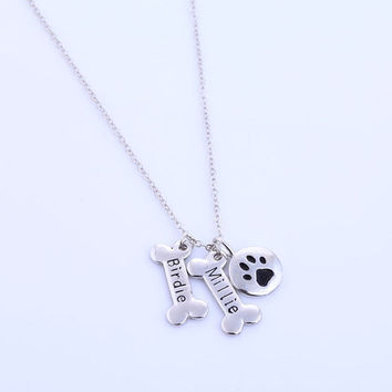 Custom Name Pet Jewelry,Silver Dog Paw Necklace, Monogrammed Gift, Paw Print, Memorial Dog