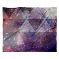 "Suzanne Carter ""Geometric stars"" Purple Black Fleece Throw Blanket"