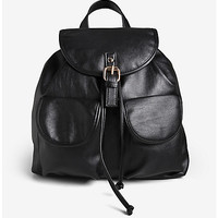 Faux Leather Large Backpack