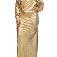 Plus Size Metallic Gold Snakeskin 2 Way Maxi Dress