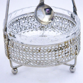 Vintage Glass Bowl In Metal Holder - Hanging Spoon - Sugar Bowl - Jam and Jelly Server
