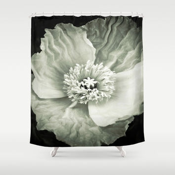 Black & White Poppy Shower Curtain by DuckyB (Brandi)