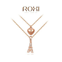 Exquisite fashion hollow rose necklace Eiffel Tower & Heart Pendant Necklace fashion gift Austrian crystal double set jewelry