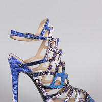 Qupid Snake Caged Peep Toe Stiletto Heel