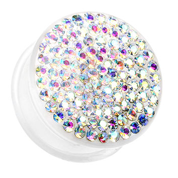 Brilliant Sparkles White Body Single Flared Ear Gauge Plug