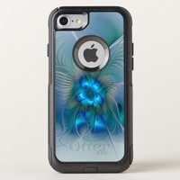 Standing Ovations, Abstract Blue Turquoise Fractal OtterBox Commuter iPhone 8/7 Case