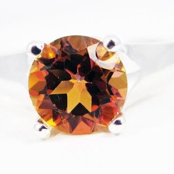 Azotic Topaz Solitaire Ring Sterling Silver, Yellow Topaz Ring, Sterling Topaz Ring, Sterling Silver Ring
