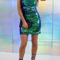 Multi Spaghetti Strap Sequin Body-con Dress