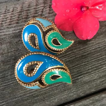Beautiful Signed Avon Blue Turquoise & Green Enamel on Goldtone PAISLEY post Earrings