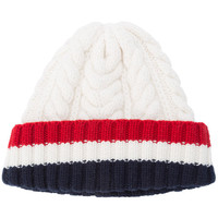 Thom Browne Aran Cable Hat With Red, White And Blue Hem Stripe In White Cashmere - Farfetch