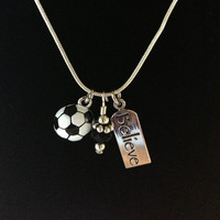 Sporty Girl Soccer Necklace Believe by SportyGirlBoutique on Etsy