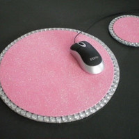 LIGHT PINK GLITTER & Bling Mousepad/Coaster Set - sparkling pink w/ clear rhinestones