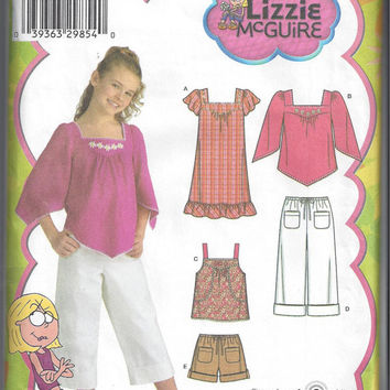 Simplicity 4162 Pattern for Girls' Plus Dress, Tunic, Top, Cropped Pants, Shorts. Lizzie McGuire, Sz 8.5-16.5. 2006. FACTORY Folded & UNCUT