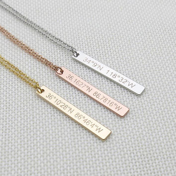 Custom Coordinates Necklace,Graduation Gift,Latitude Longitude necklace,anniversary gift,Location GPS Coordinates