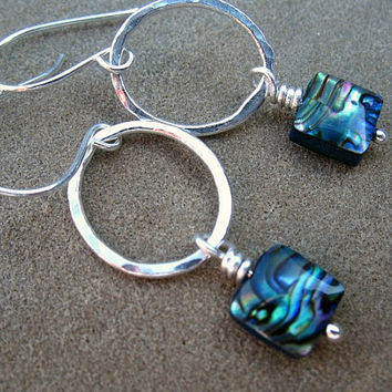 Abalone Earrings, Silver Hoops, Sterling Silver Jewelry, Paua Shell Earrings