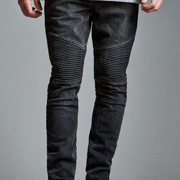 Bullhead Denim Co. Black Moto Stacked Skinny Jeans - Mens Jeans - Black
